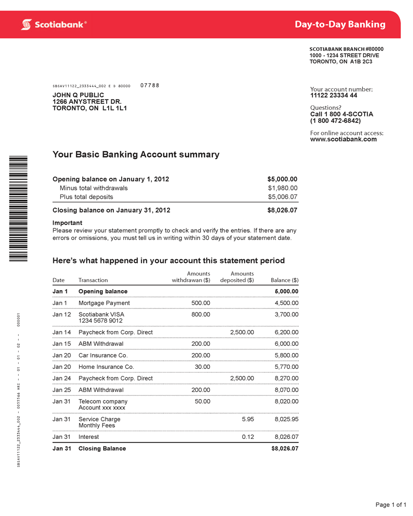 Scotiabank bank statement